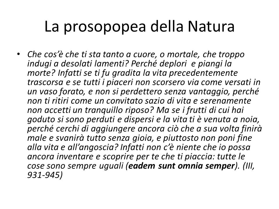 La prosopopea della Natura
