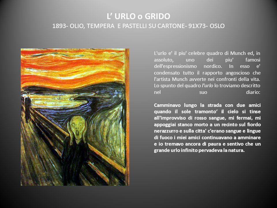L' URLO o GRIDO 1893- OLIO, TEMPERA E PASTELLI SU CARTONE- 91X73- OSLO