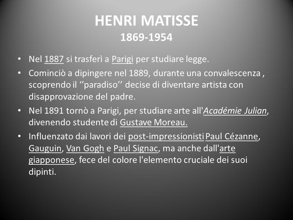 HENRI MATISSE 1869-1954 Nel 1887 si trasferì a Parigi per studiare legge.