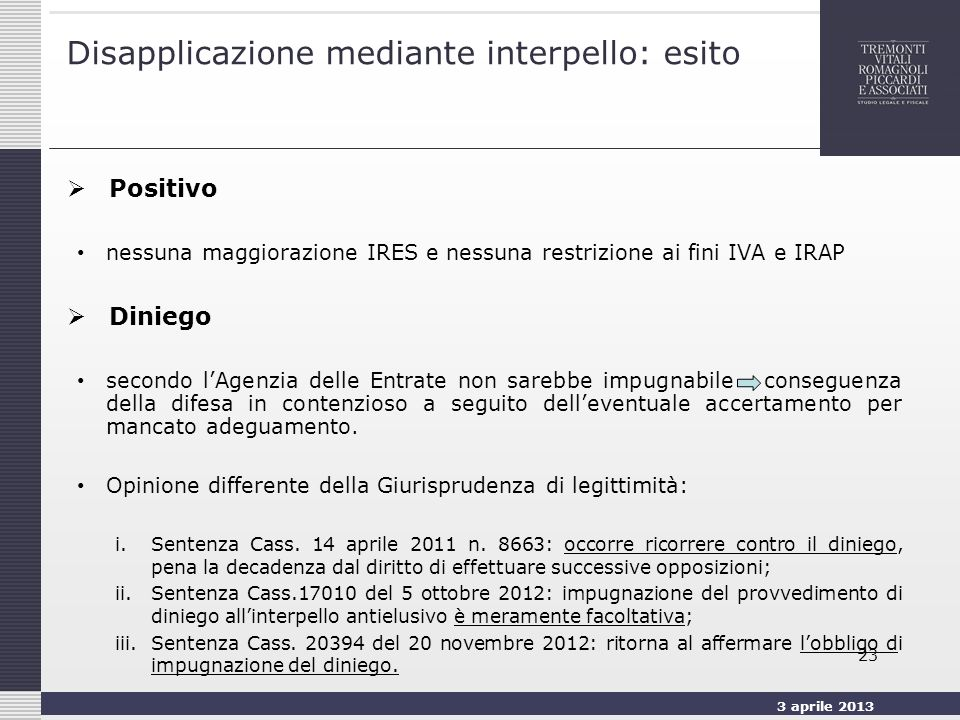 Disapplicazione mediante interpello: esito