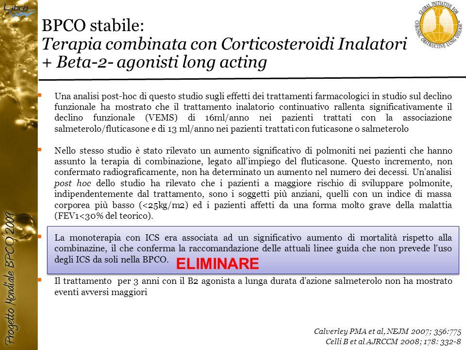 BPCO stabile: Terapia combinata con Corticosteroidi Inalatori + Beta-2- agonisti long acting