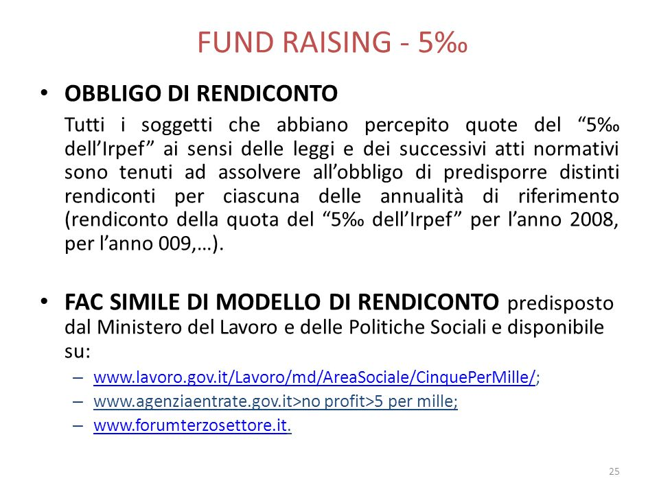 FUND RAISING - 5‰ OBBLIGO DI RENDICONTO