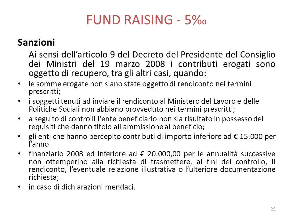 FUND RAISING - 5‰ Sanzioni