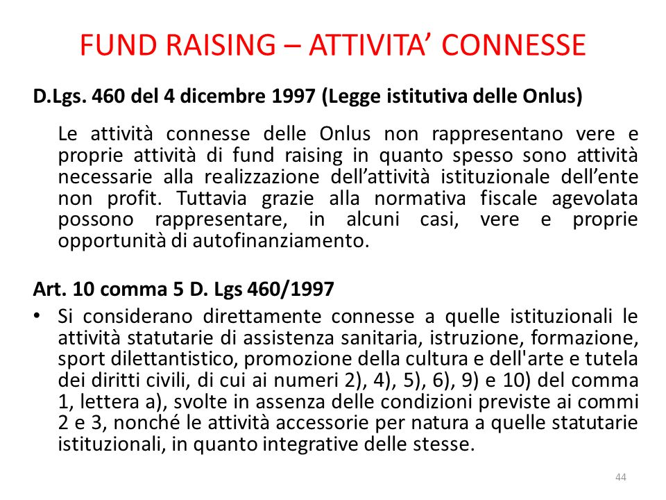 FUND RAISING – ATTIVITA' CONNESSE