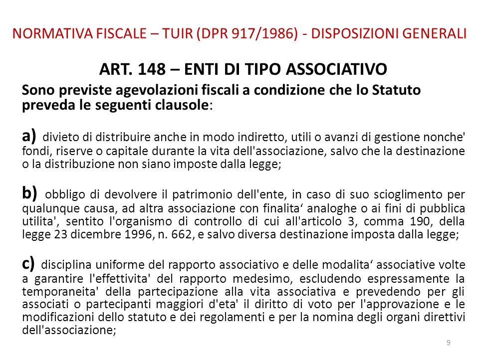 NORMATIVA FISCALE – TUIR (DPR 917/1986) - DISPOSIZIONI GENERALI