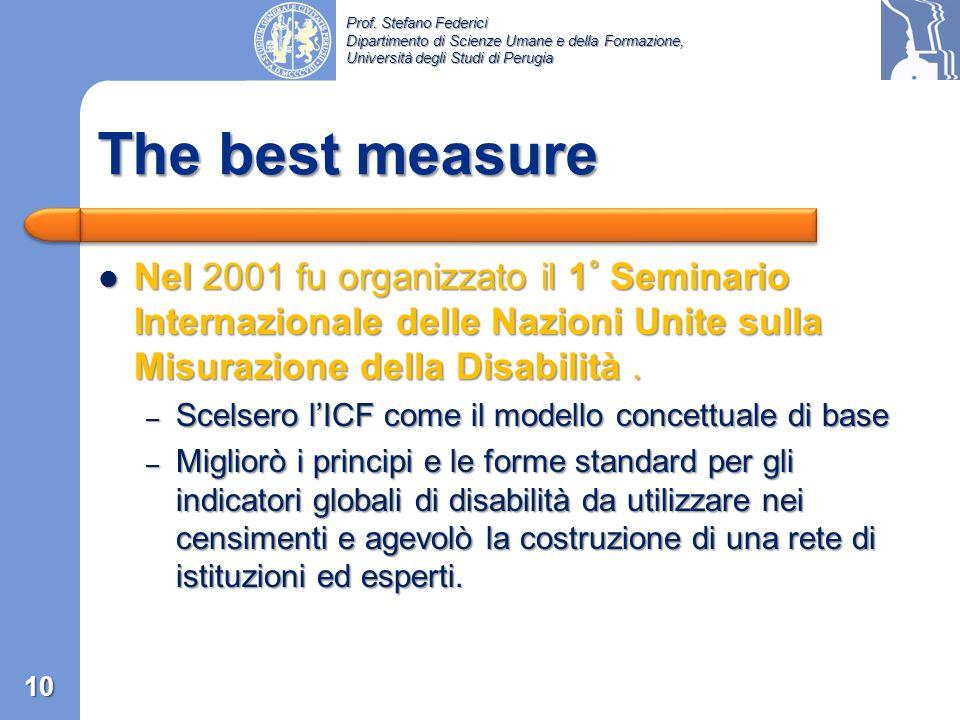 The best measure Nel 2001 fu organizzato il 1° Seminario Internazionale delle Nazioni Unite sulla Misurazione della Disabilità .
