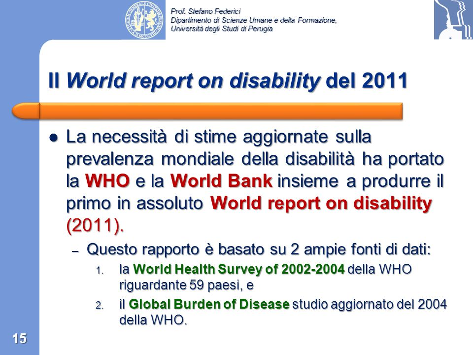Il World report on disability del 2011