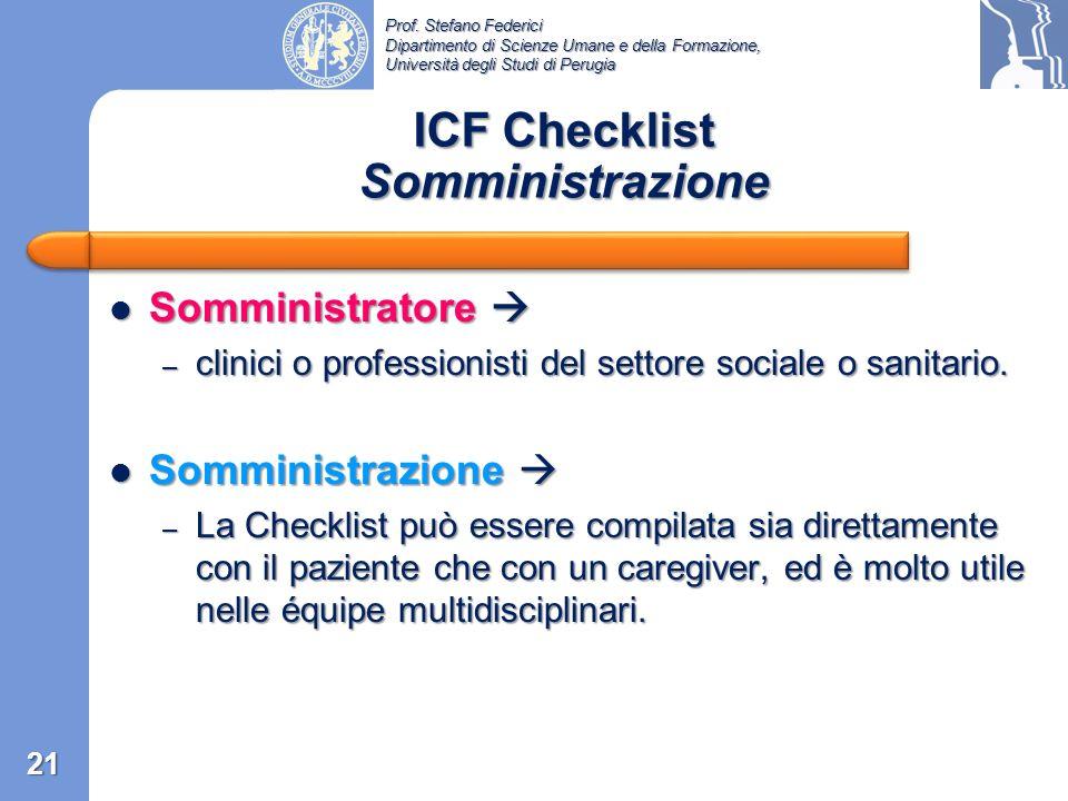 ICF Checklist Somministrazione