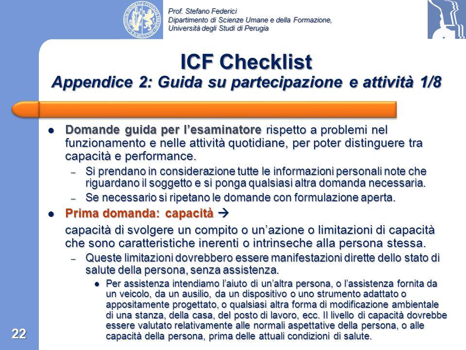 ICF Checklist Appendice 2: Guida su partecipazione e attività 1/8