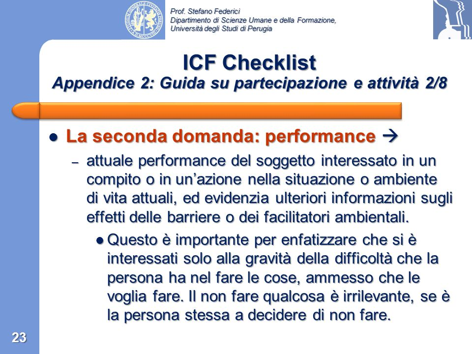 ICF Checklist Appendice 2: Guida su partecipazione e attività 2/8