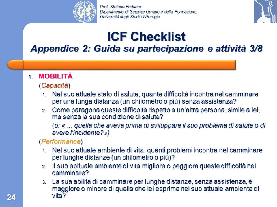 ICF Checklist Appendice 2: Guida su partecipazione e attività 3/8