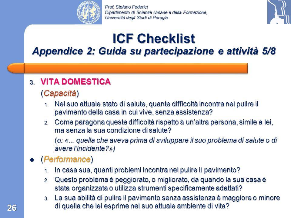 ICF Checklist Appendice 2: Guida su partecipazione e attività 5/8