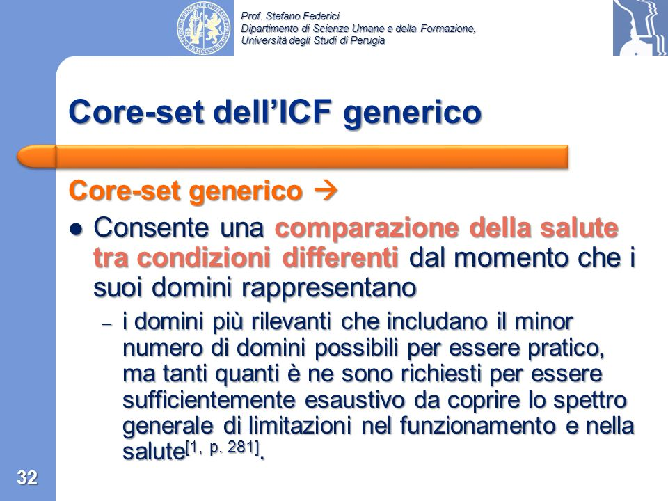 Core-set dell'ICF generico