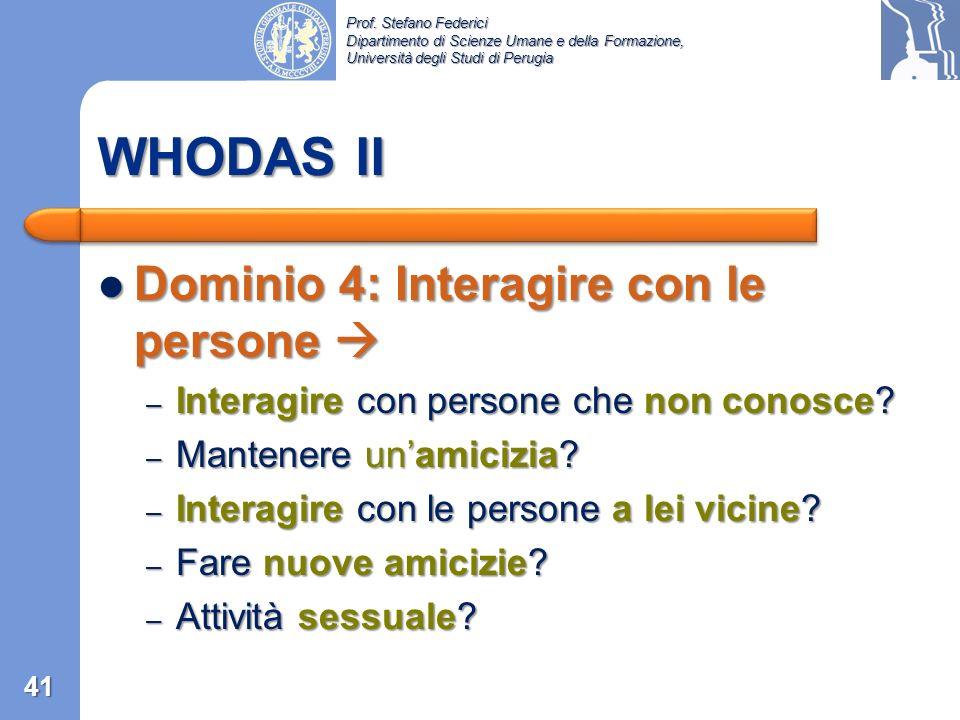 WHODAS II Dominio 4: Interagire con le persone 