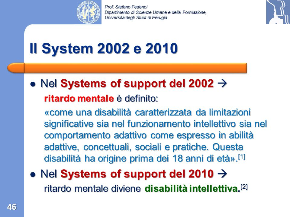 Il System 2002 e 2010 Nel Systems of support del 2002 