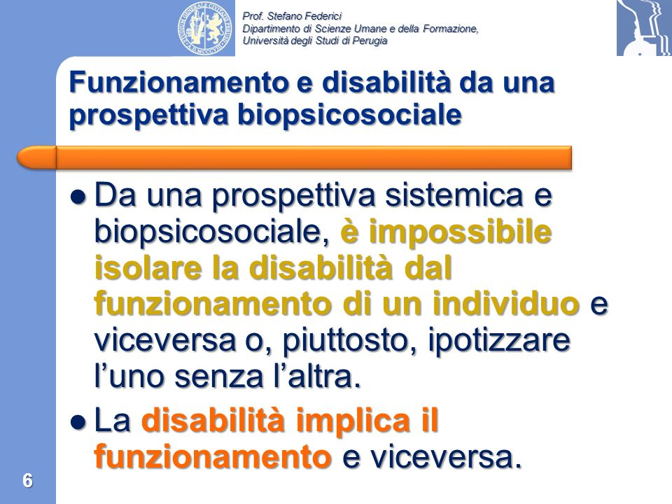 Funzionamento e disabilità da una prospettiva biopsicosociale