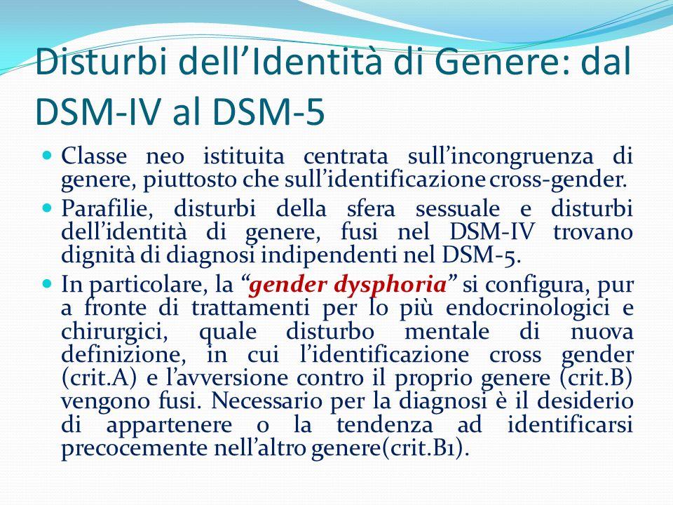 Disturbi dell'Identità di Genere: dal DSM-IV al DSM-5