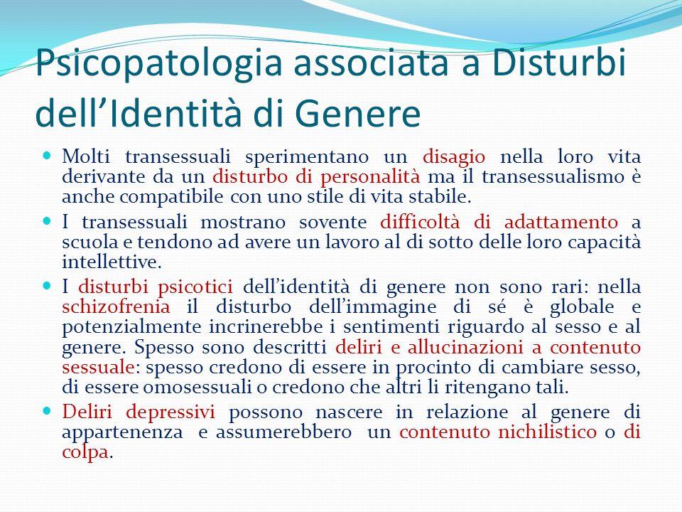 Psicopatologia associata a Disturbi dell'Identità di Genere
