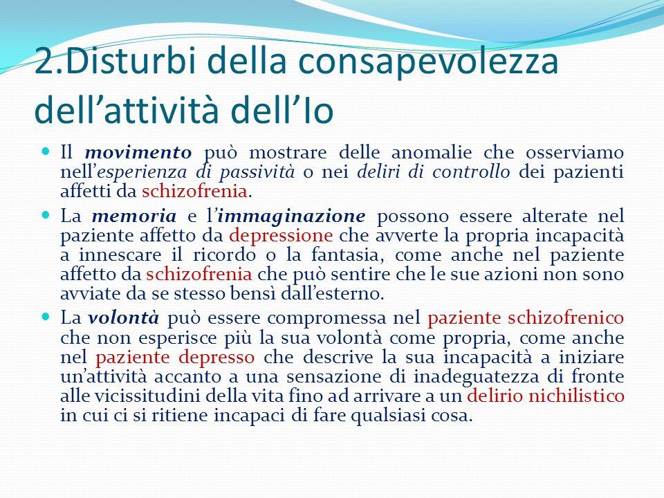 2.Disturbi della consapevolezza dell'attività dell'Io