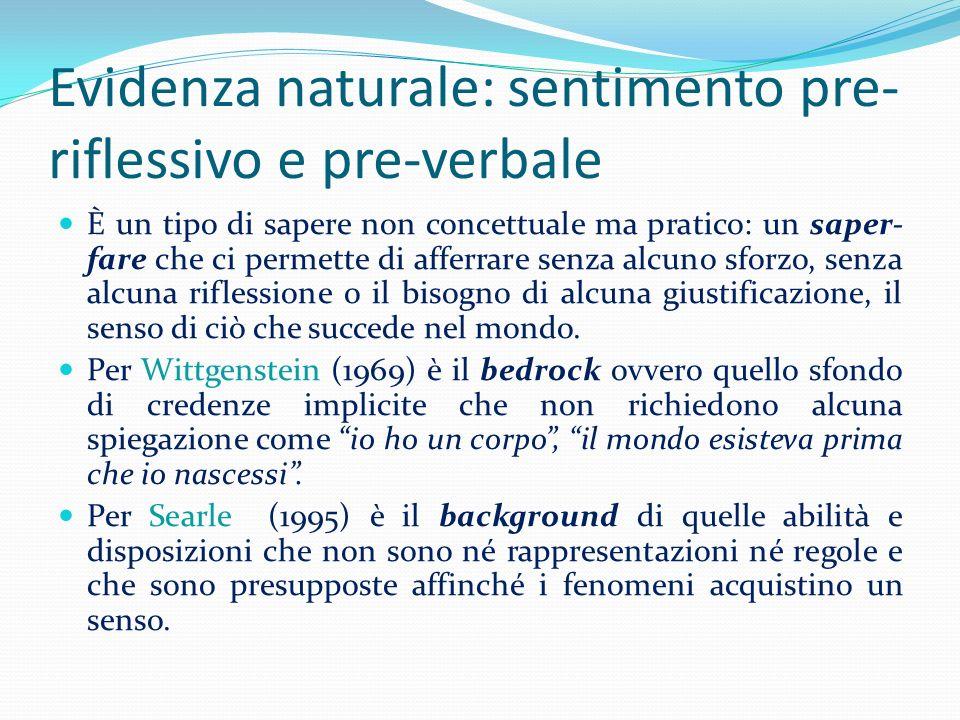 Evidenza naturale: sentimento pre-riflessivo e pre-verbale