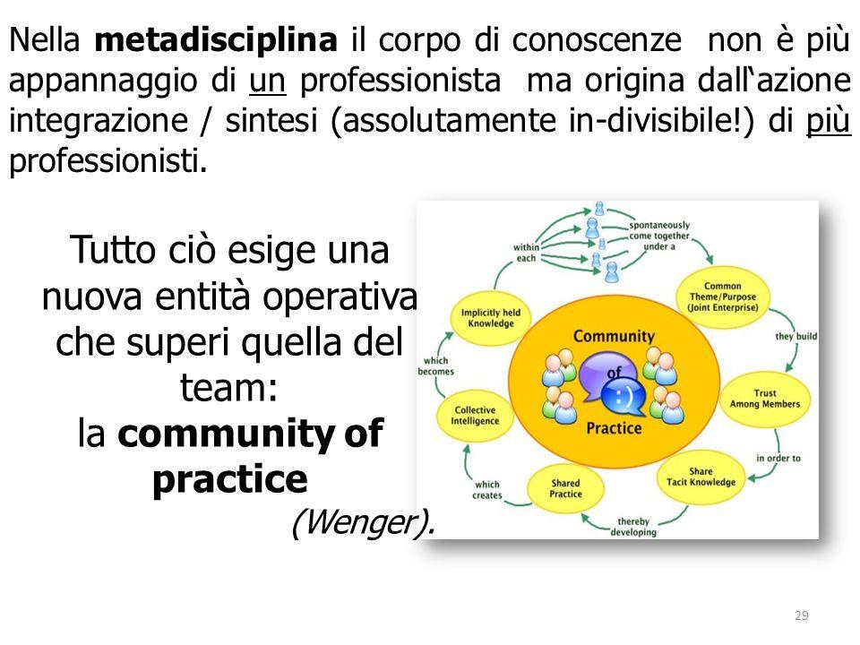 Nella metadisciplina il corpo di conoscenze non è più appannaggio di un professionista ma origina dall'azione integrazione / sintesi (assolutamente in-divisibile!) di più professionisti.