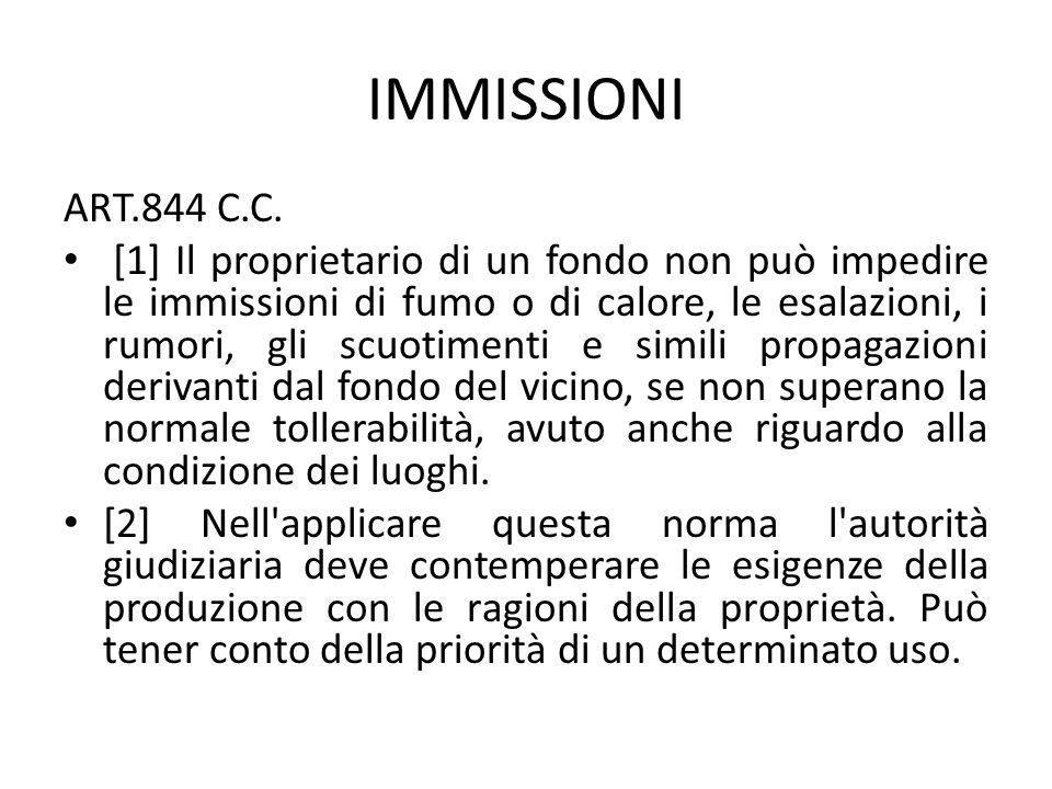 IMMISSIONI ART.844 C.C.