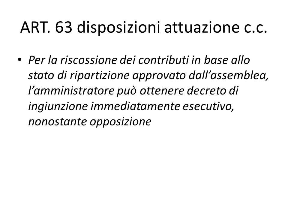 ART. 63 disposizioni attuazione c.c.