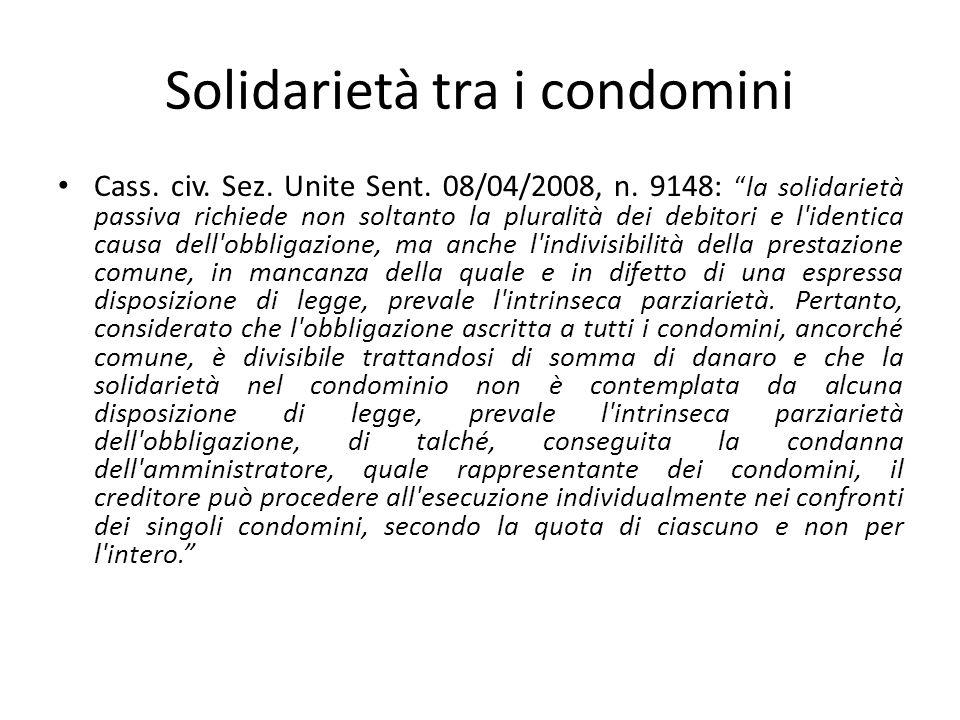 Solidarietà tra i condomini