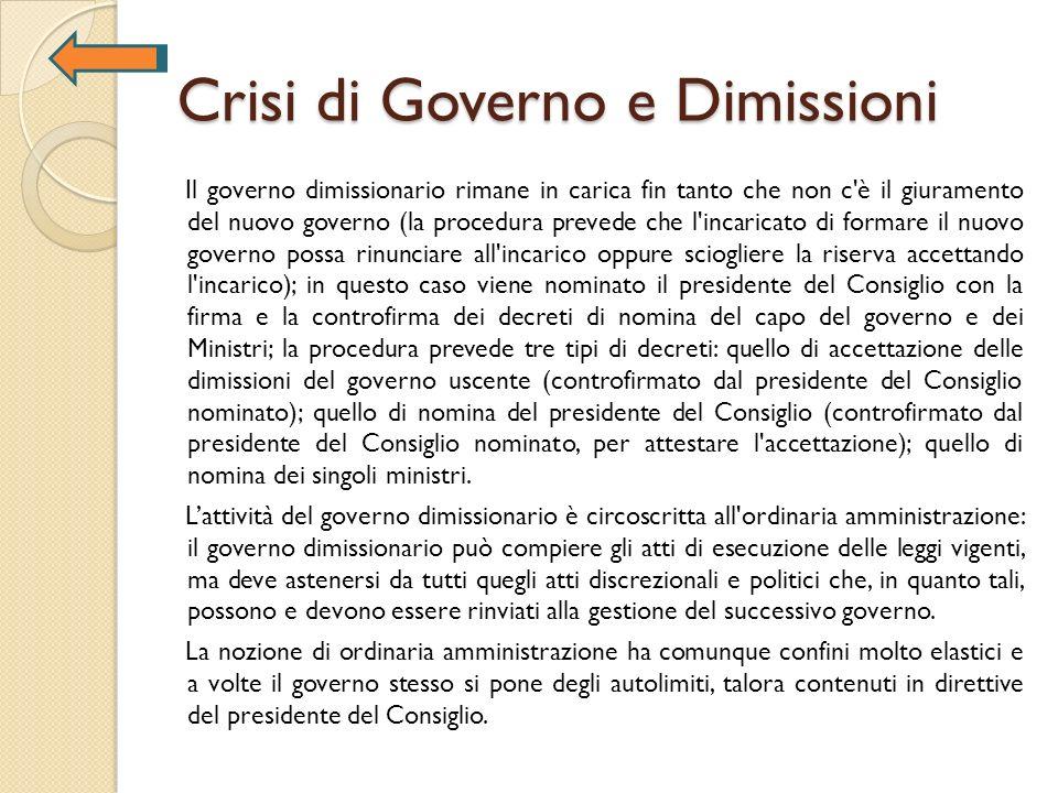 Crisi di Governo e Dimissioni