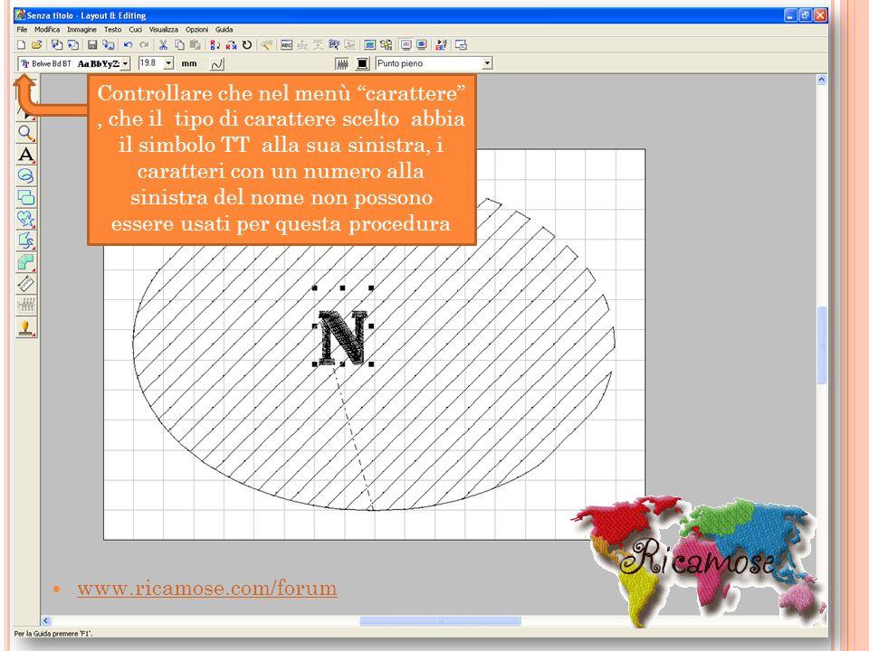 Controllare che nel menù carattere , che il tipo di carattere scelto abbia il simbolo TT alla sua sinistra, i caratteri con un numero alla sinistra del nome non possono essere usati per questa procedura