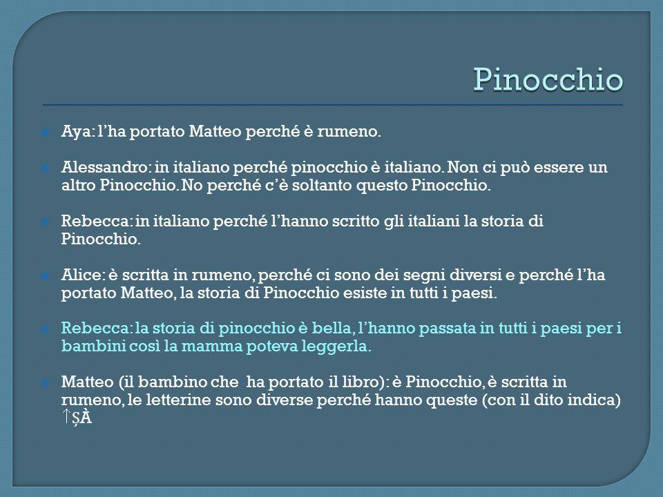 Pinocchio Aya: l'ha portato Matteo perché è rumeno.