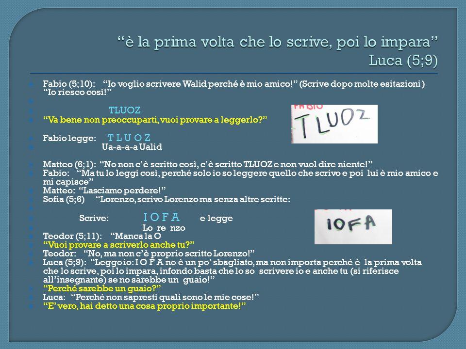 è la prima volta che lo scrive, poi lo impara Luca (5;9)