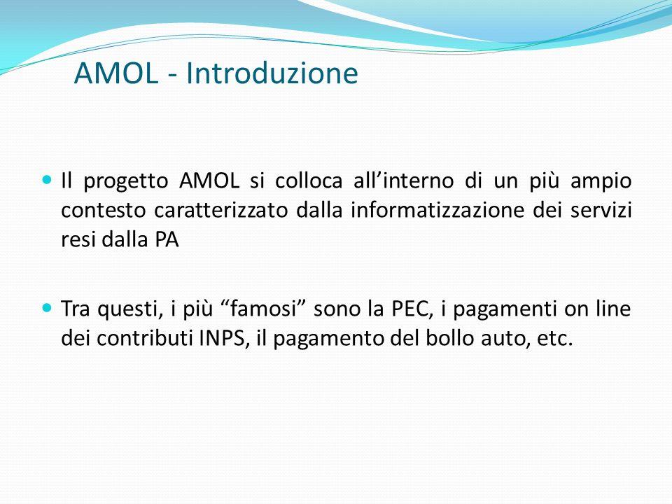 AMOL - Introduzione Il progetto AMOL si colloca all'interno di un più ampio contesto caratterizzato dalla informatizzazione dei servizi resi dalla PA.