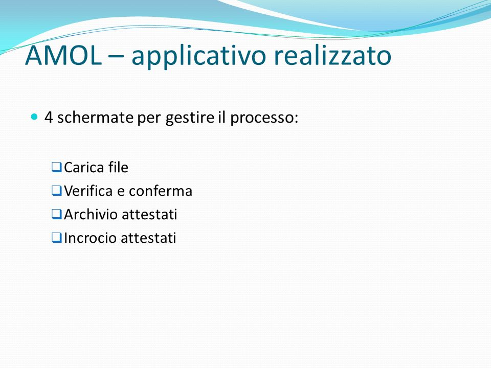 AMOL – applicativo realizzato