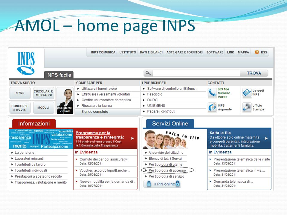 AMOL – home page INPS