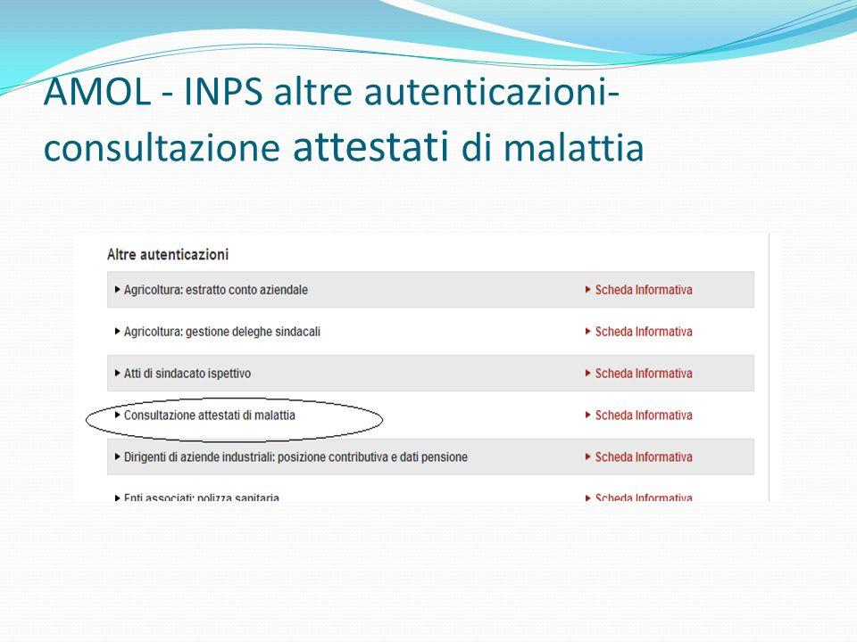 AMOL - INPS altre autenticazioni-consultazione attestati di malattia