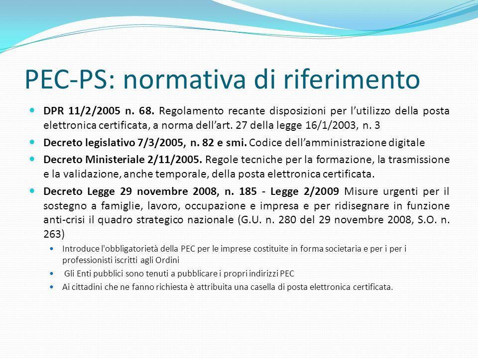 PEC-PS: normativa di riferimento