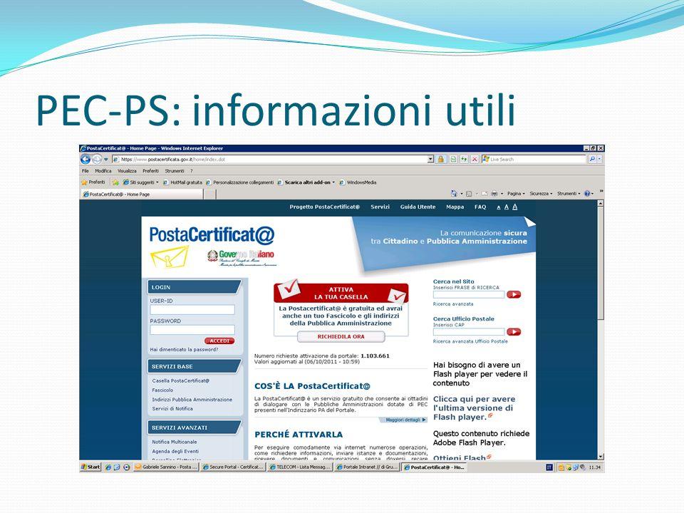 PEC-PS: informazioni utili