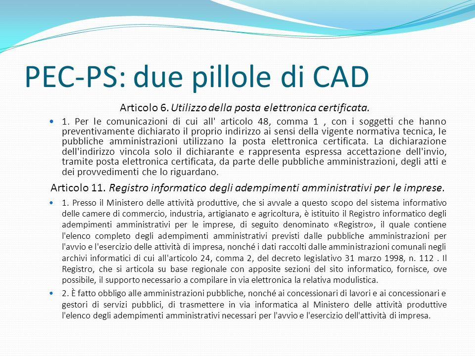 PEC-PS: due pillole di CAD