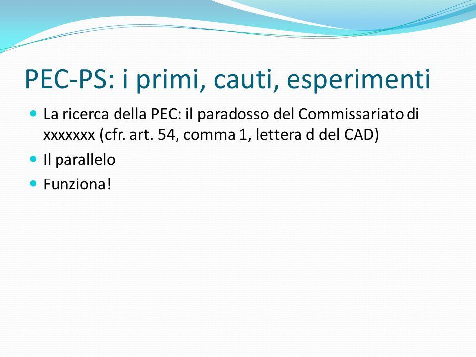 PEC-PS: i primi, cauti, esperimenti