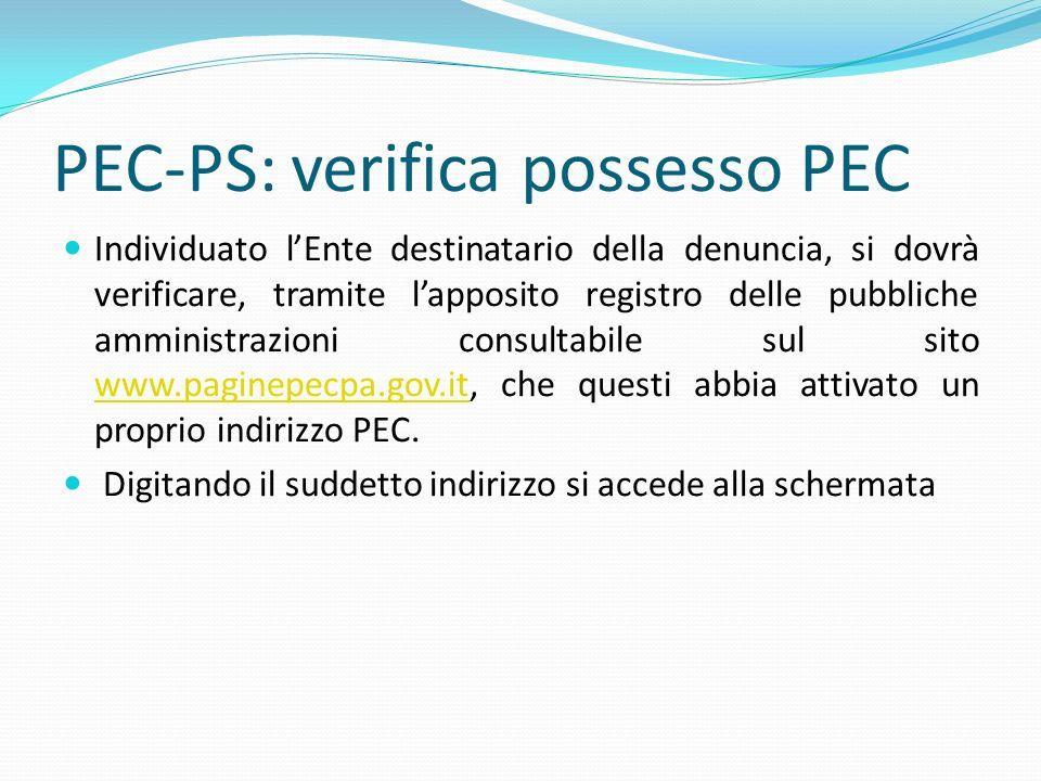 PEC-PS: verifica possesso PEC