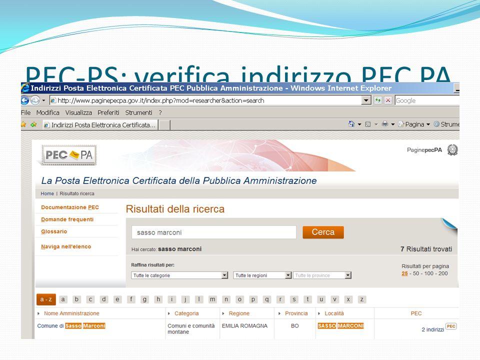 PEC-PS: verifica indirizzo PEC PA