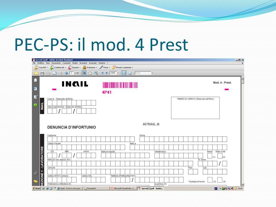 PEC-PS: il mod. 4 Prest