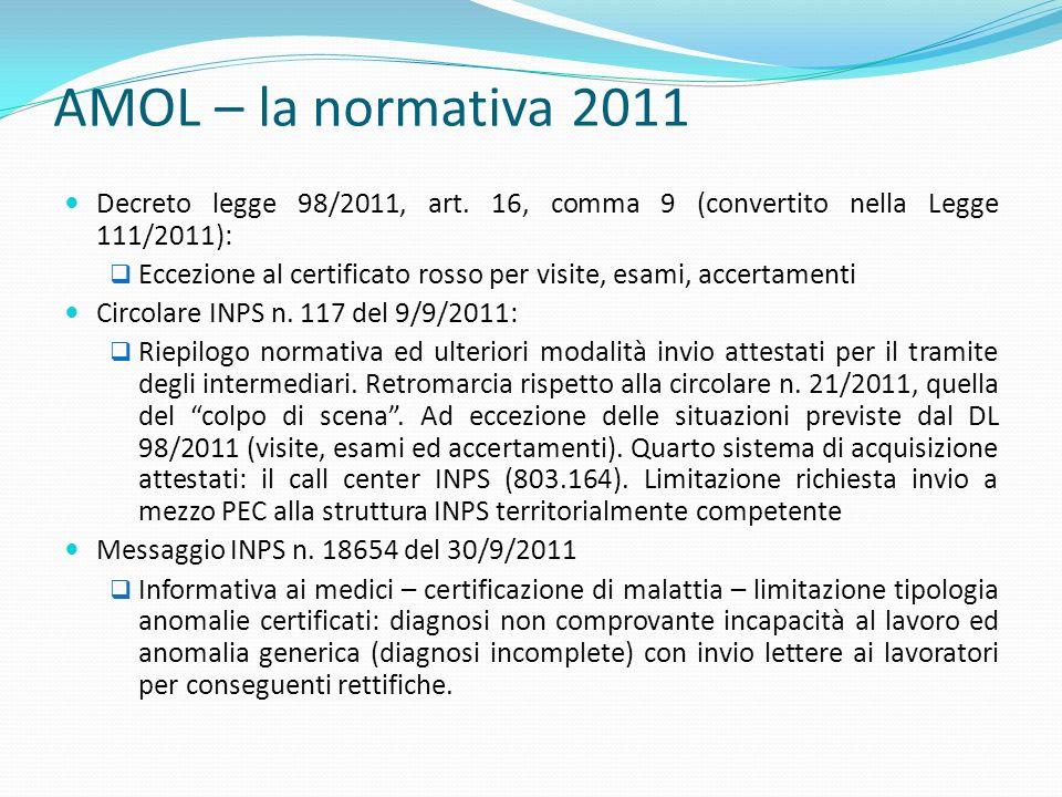 AMOL – la normativa 2011 Decreto legge 98/2011, art. 16, comma 9 (convertito nella Legge 111/2011):