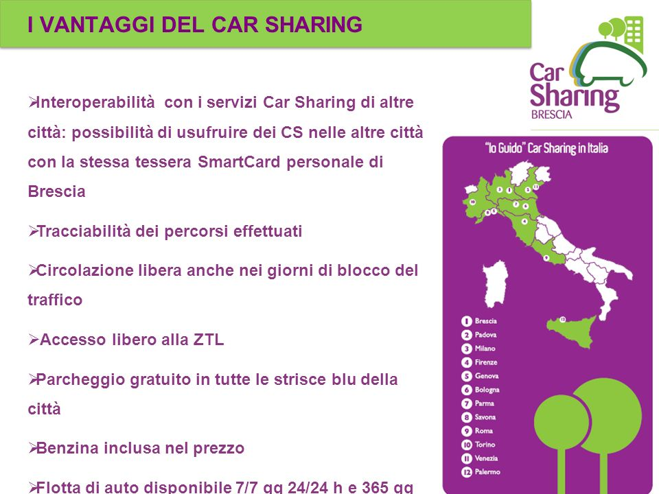 I VANTAGGI DEL CAR SHARING