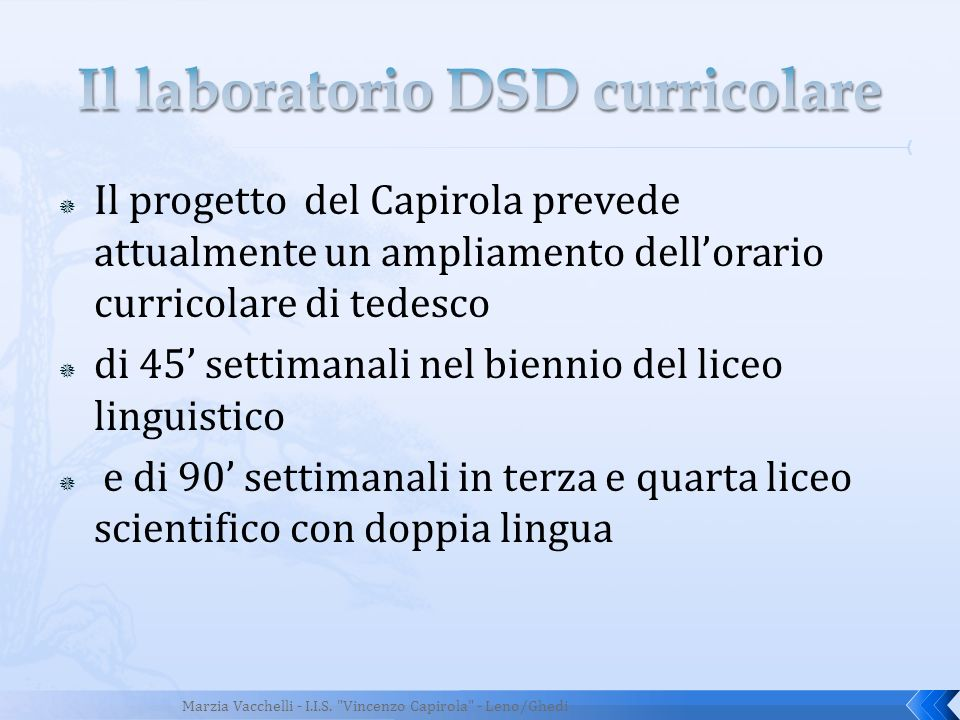 Il laboratorio DSD curricolare