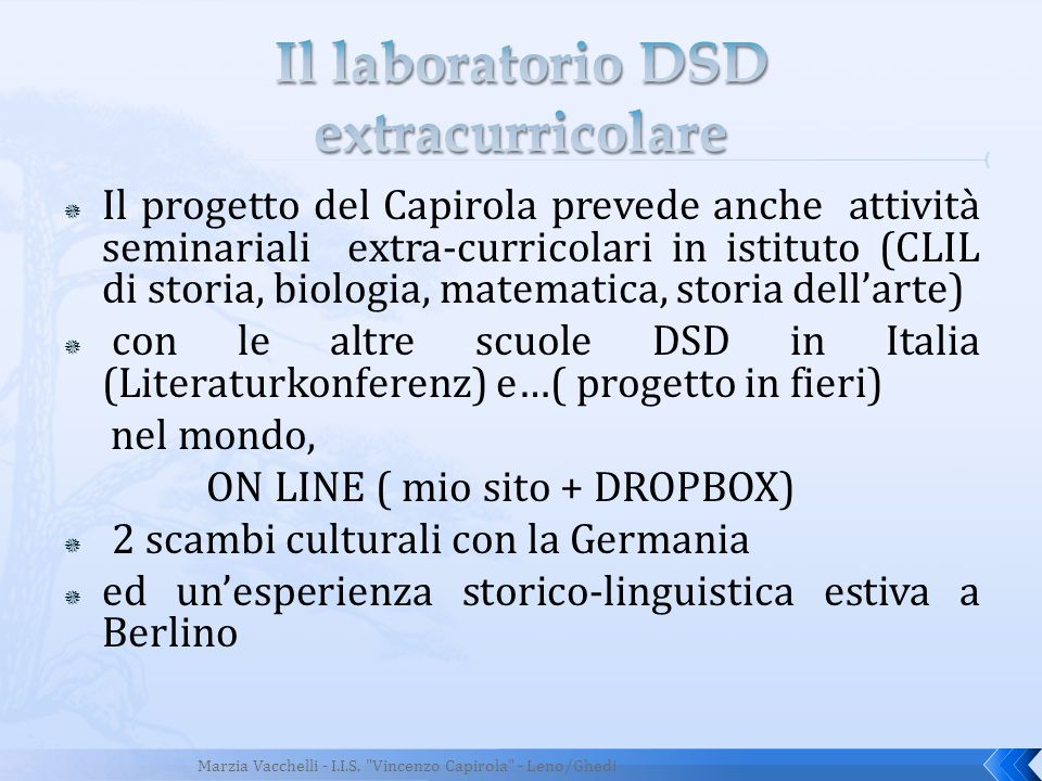 Il laboratorio DSD extracurricolare
