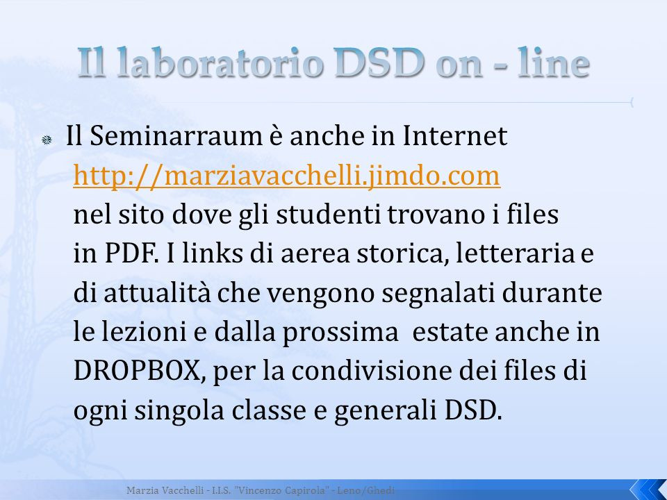 Il laboratorio DSD on - line