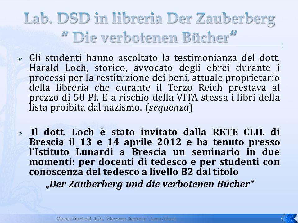 Lab. DSD in libreria Der Zauberberg Die verbotenen Bücher