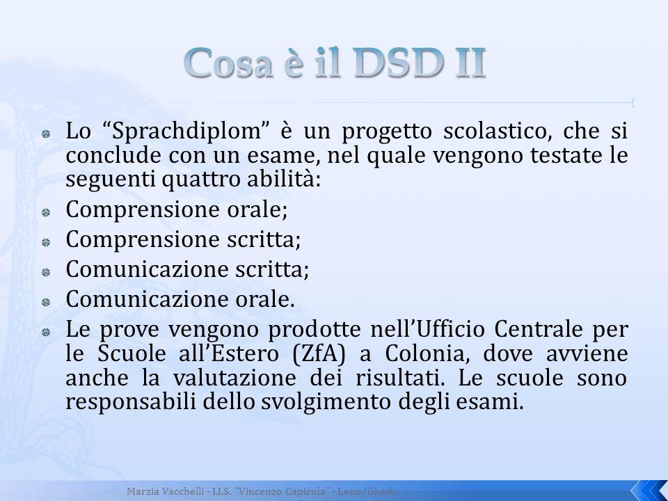 Cosa è il DSD II Lo Sprachdiplom è un progetto scolastico, che si conclude con un esame, nel quale vengono testate le seguenti quattro abilità: